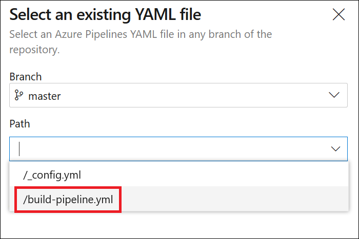 Jekyll build pipeline: Select repository branch and build definition file
