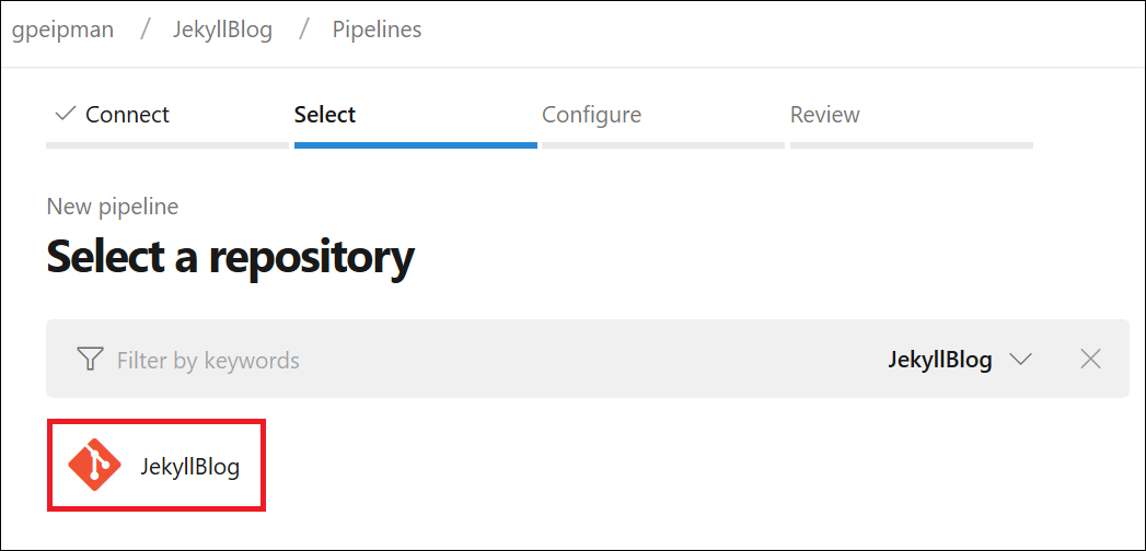 Jekyll build pipeline: Select source code repository