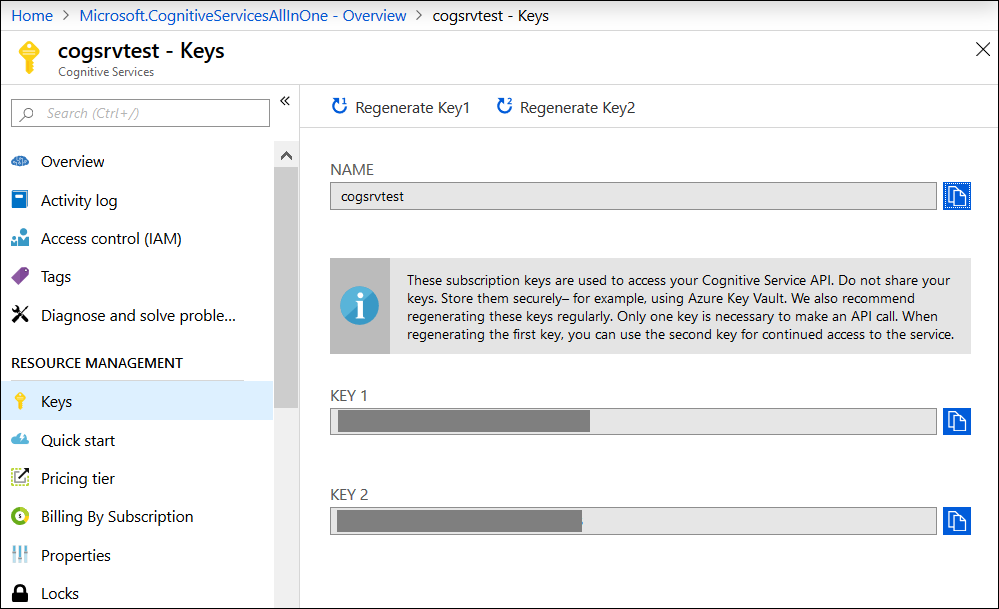 Getting keys of Azure Cognitive services