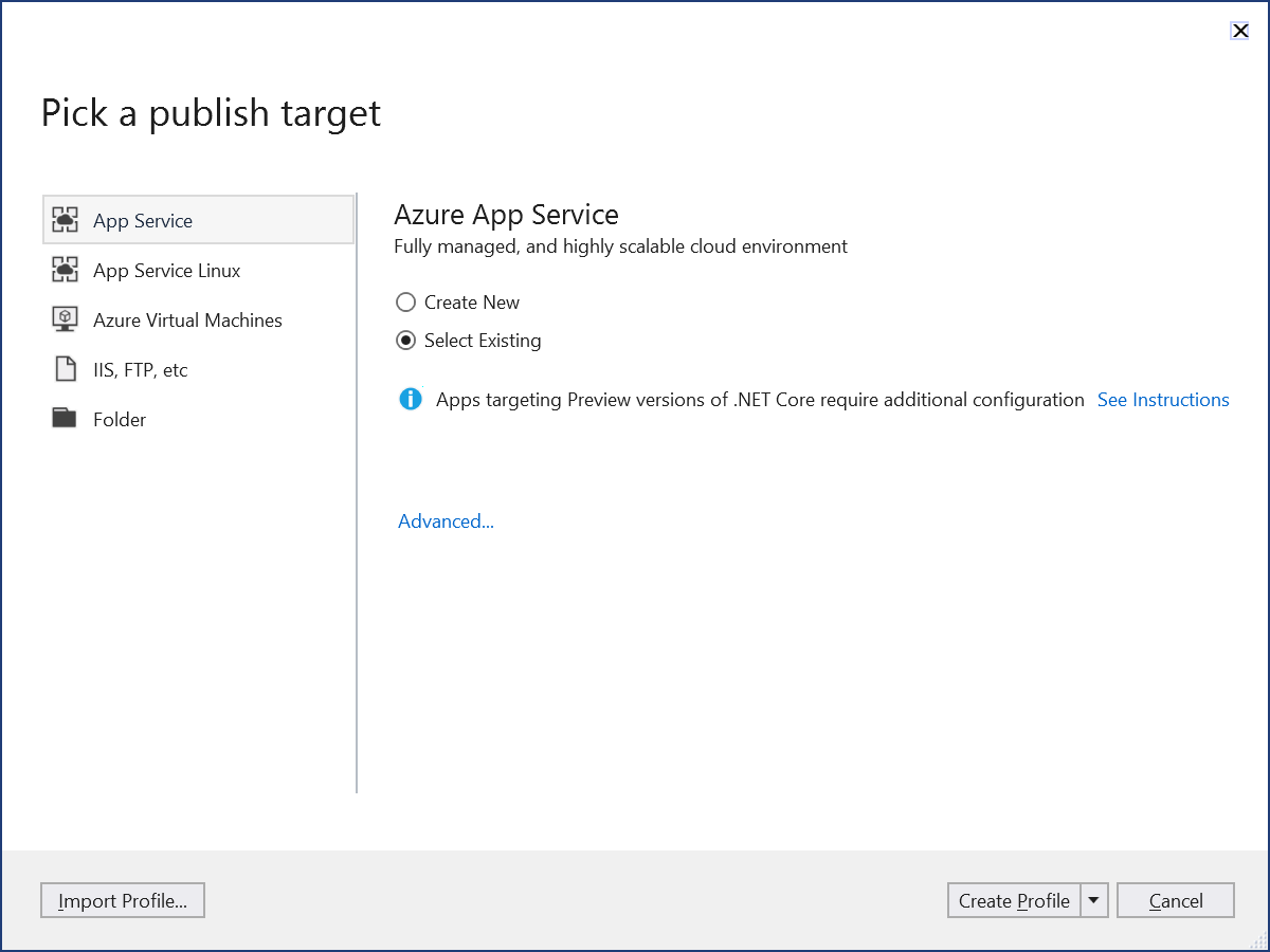 Publish target is existing Azure App Service