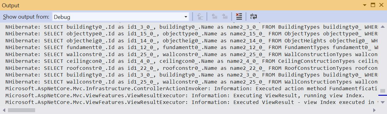 NHibernate SQL queries in debug window
