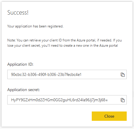 Power BI: Application was successfully registered