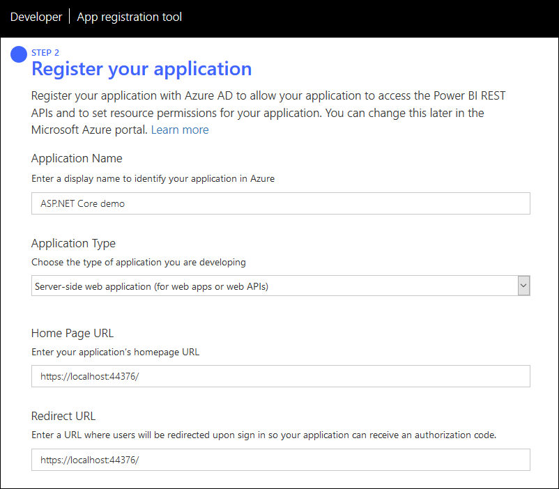 Power BI: Register new application