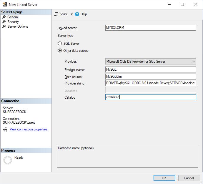 MySQL linked server settings