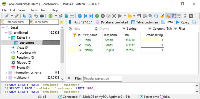 Customers table in MySQL database
