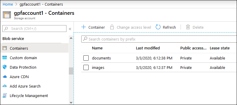 Azure storage account and blob containers