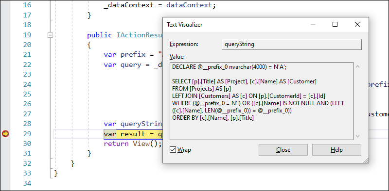 EF Core query as a string in Visual Studio Text Visualizer