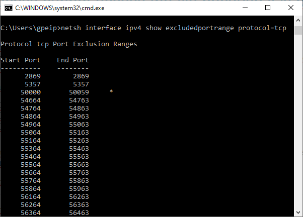 Find exluded port ranges on Windows 10