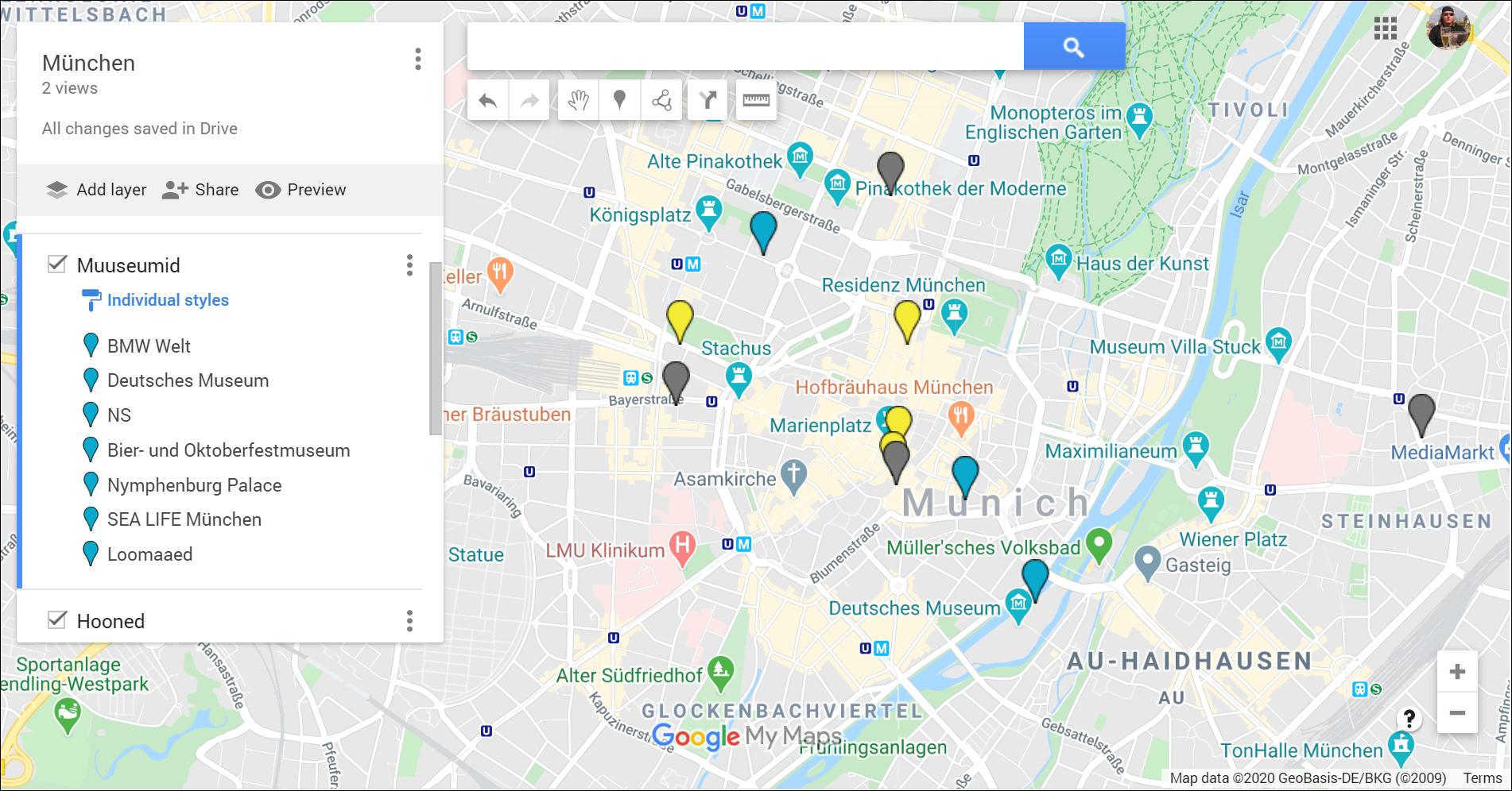 Munich attractions in Google My Maps