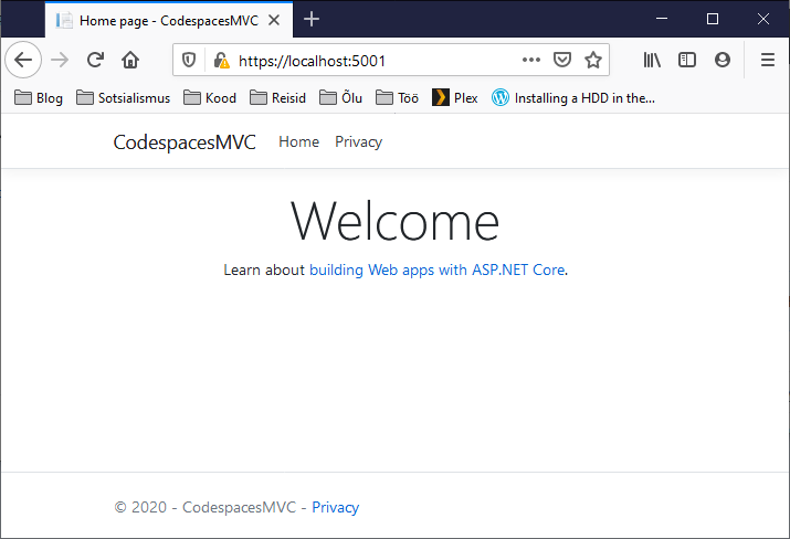 Opening web application running on Visual Studio Codespaces from local machine