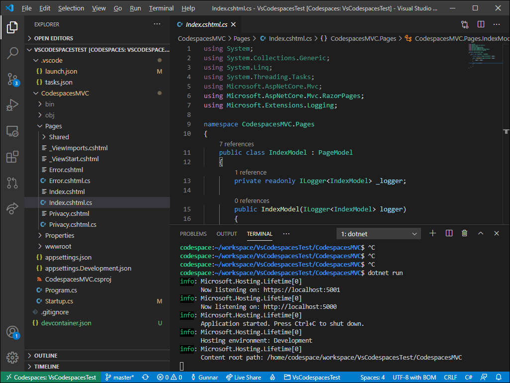 ASP.NET Core web application running on Visual Studio Codespaces