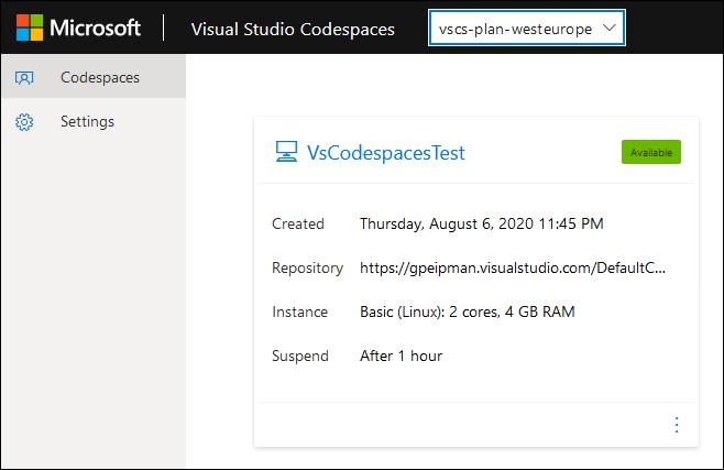 Codespace card in Visual Studio Codespaces