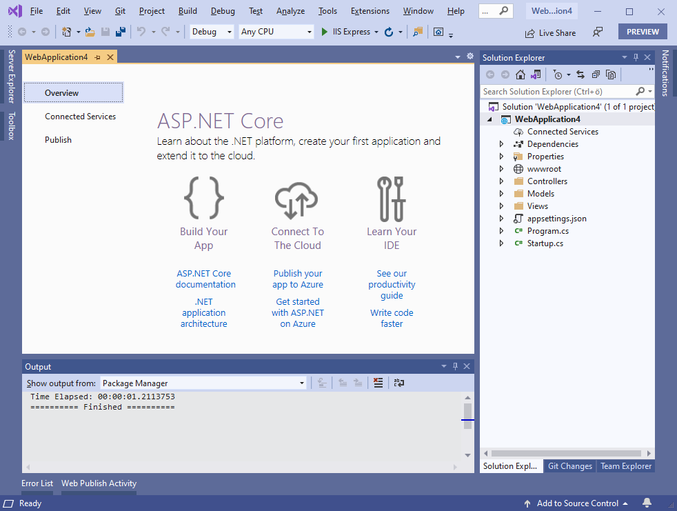 Default ASP.NET Core 5 application in Visual Studio