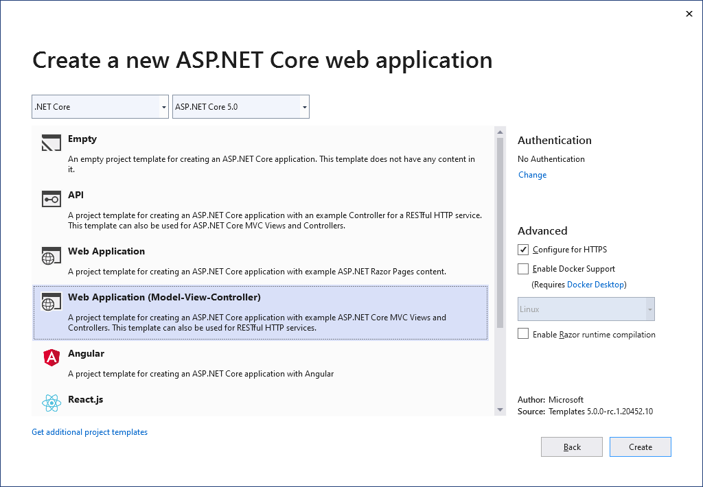 Create new ASP.NET Core 5 application